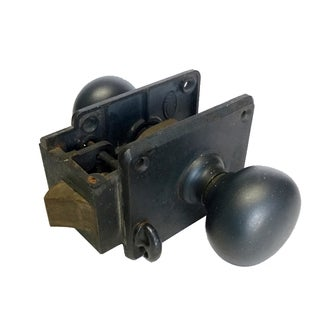 Antique Industrial Steel Lock & Door Knobs For Sale