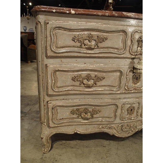 Antique Louis XV Style Painted French Chest of Drawers with Marble Top For Sale - Image 4 of 10