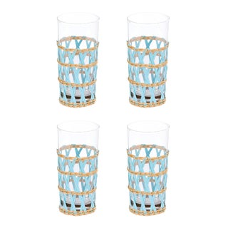 Light Blue Seagrass Wrapped Ice Tea Glasses - Set of 4 For Sale