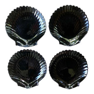 Jet Black Glass Shell Plates - Set of 4 For Sale