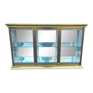 Vintage 1970s Brass & Steel Lighted Mirrored Glass Credenza Curio Cabinet For Sale