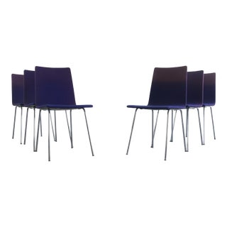 A Set of 6 Minimal Chrome Dining Chairs Set on Petite Tublular Chrome Bases, West Germany For Sale