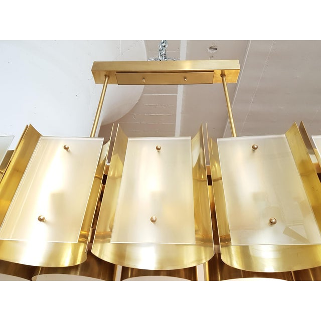 Bauhaus d'Lightus Bespoke Brass and Frosted Glass 12 Lights Chandelier For Sale - Image 3 of 9