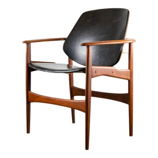 Sculptural Arne Hovmand-Olsen Danish Teak & Leather Arm Chair For Sale