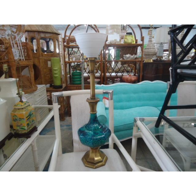 Mid-Century Turquoise Glazed Lamp - Image 9 of 9