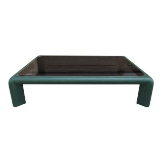 Karl Springer Leather Coffee Table Signed For Sale