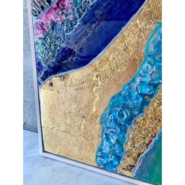Unique Abstract Framed Oil Painting With Resin and Rock Crystal on Canvas by Franchy For Sale - Image 11 of 13
