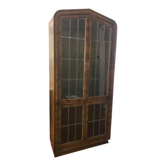 Henredon Lighted Walnut Display Cabinet For Sale
