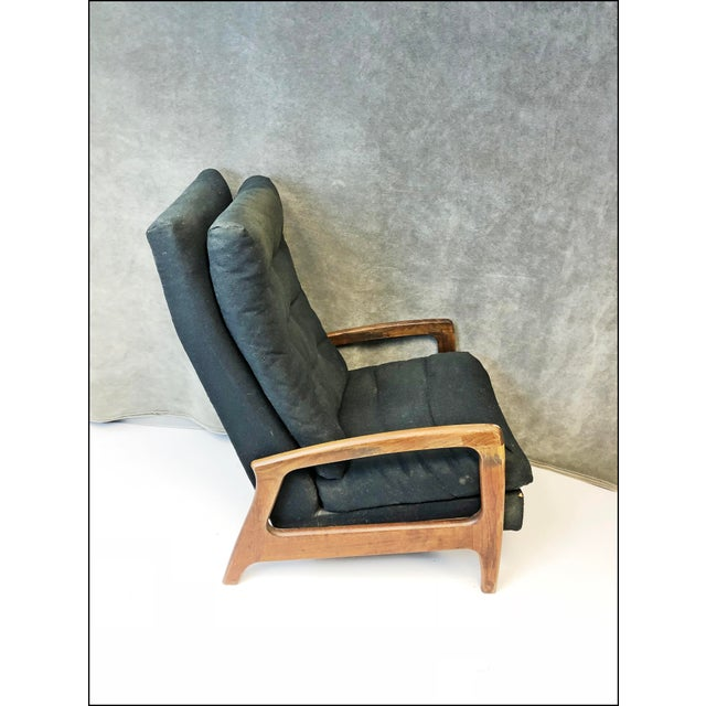 Fabric Mid Century Modern Upholstered Recliner - Adrian Pearsall for Craft Associates For Sale - Image 7 of 13