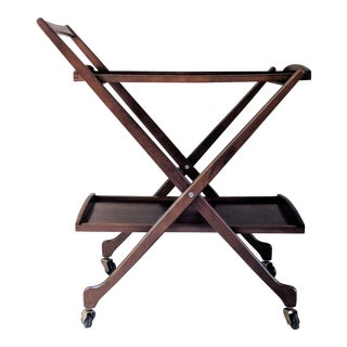 1950s Danish Modern Two Tier Collapsible Bar Cart For Sale