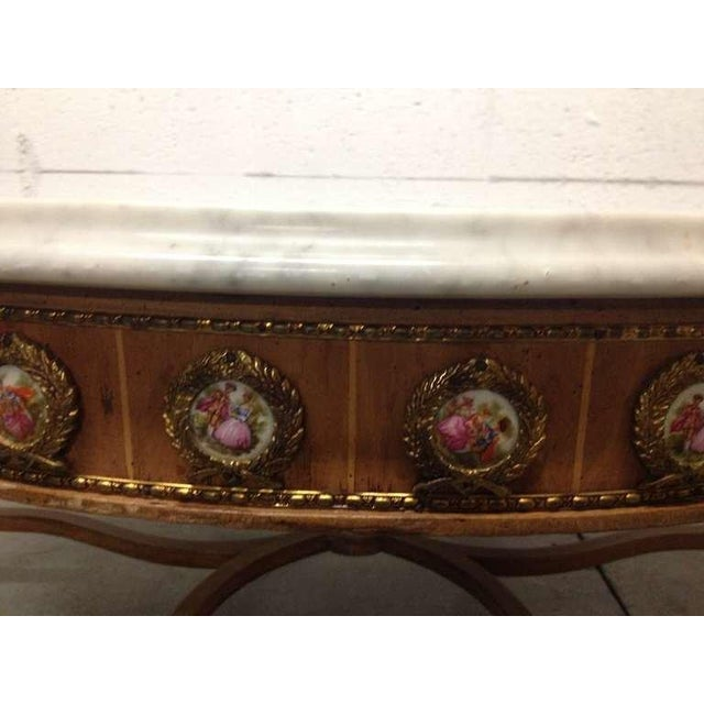 Late 19th Century Antique French Coffee Table with Porcelain Sevres Plaques For Sale - Image 5 of 8