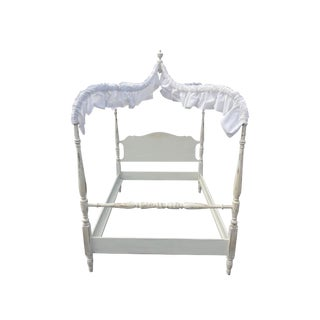 Antique Cottage Colonial White Shabby Canopy Bed - Full Size