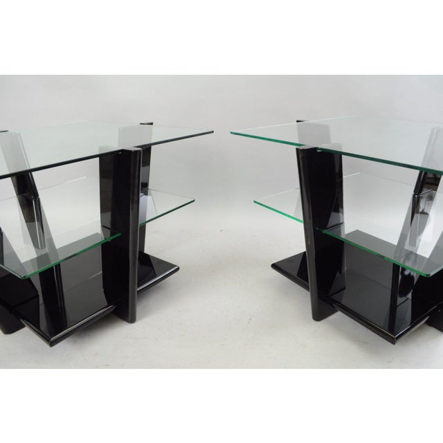 Modern Pair of Contemporary Modern Black Lacquer & Glass 3 Tier End Tables Sculptural For Sale - Image 3 of 11