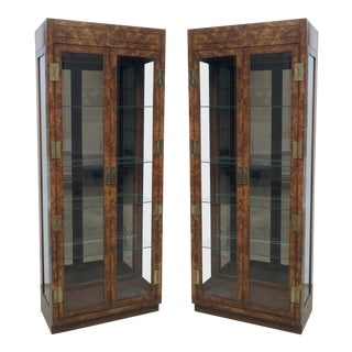 Vintage Burled Walnut Wood and Brass Vitrine or Display Cabinets - A Pair For Sale