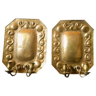 1880s Dutch Repousse Brass Two-Light Wall Blaker Sconces - a Pair For Sale