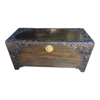 Carved Chinese Trunk Camphor Lined For Sale