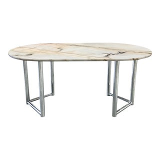 Vintage Marble Table With Chrome Pedestal Base For Sale