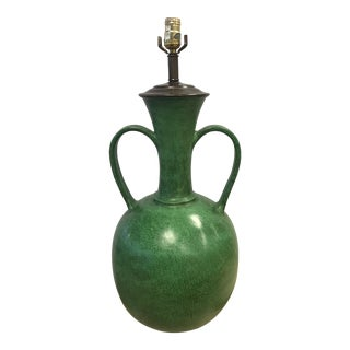 Large Danish Modern Mid-Century Green Ceramic Lamp For Sale