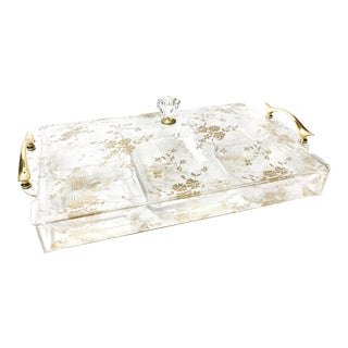 Vintage Gold Floral Design Acrylic Tray and Organizing Bowls Inside