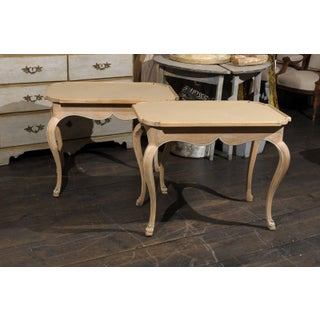 Pair of French Painted Wood Tray Top Side Tables With Cabriole Legs Preview