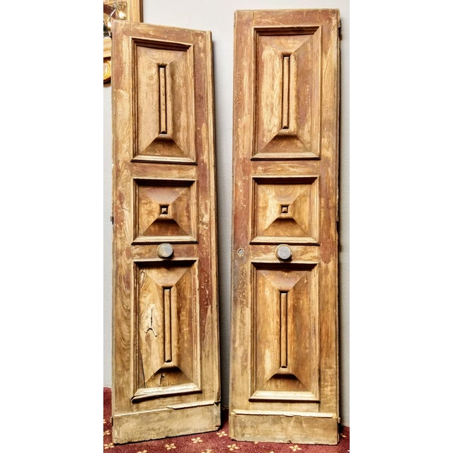 French Oak Haussmann-Paris Era Panel Doors With Cream Painted Backs - a Pair #1 For Sale In San Diego - Image 6 of 6