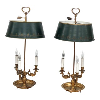 Empire Style 3 Arm Bouillotte Lamps - a Pair For Sale