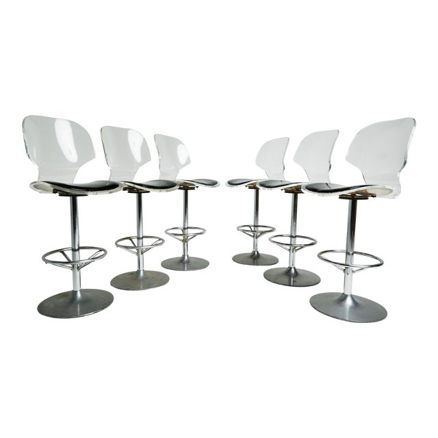 Set of Six Lucite Bar Stools For Sale