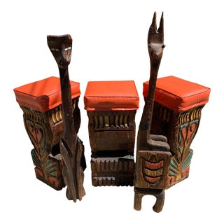1960s Vintage Carved Tiki Witco Bar Stool Chairs - Set of 3 For Sale