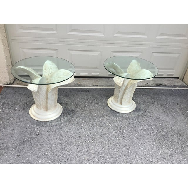Vintage Glass Top Tables With Floral Style Bases - a Pair For Sale In Miami - Image 6 of 9
