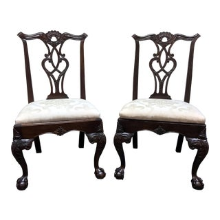 Henredon Rittenhouse Square Mahogany Chippendale Ball in Claw Dining Side Chairs - Pair 1 For Sale