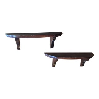 1970s Traditional Utilitarian Wooden Shelves - a Pair For Sale