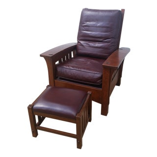 Stickley Mission Collection Bow Arm Morris Chair & Ottoman