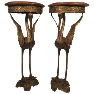 1910s Vintage Crane Motif Burnished Bronze Pedestal Tables- A Pair For Sale