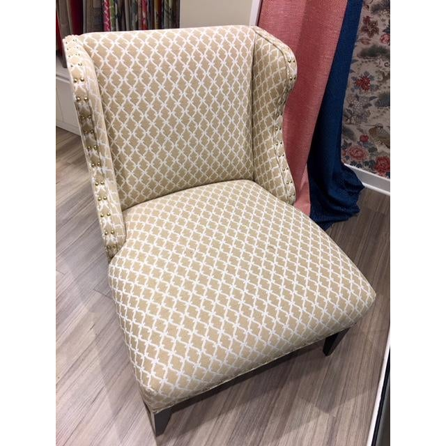 Early 21st Century Scalalmandre Trellis Weave Sand Upholstered Slipper Chair For Sale - Image 5 of 5