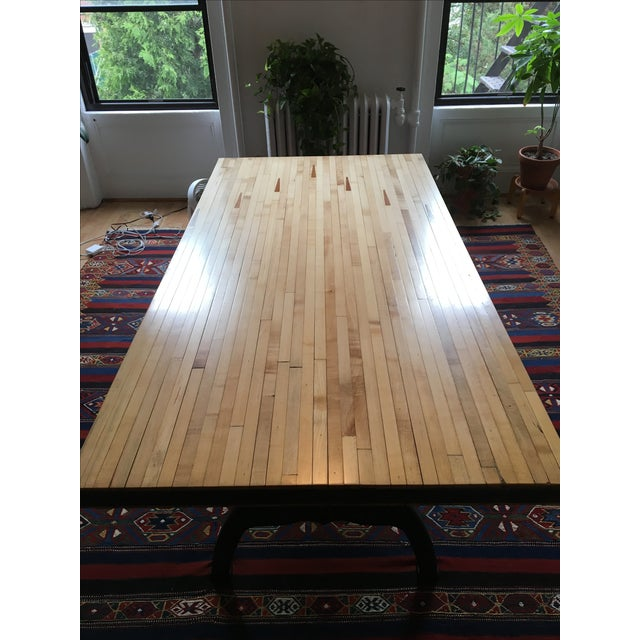 Reclaimed Industrial Wood Bowling Alley Farm Table - Image 3 of 7