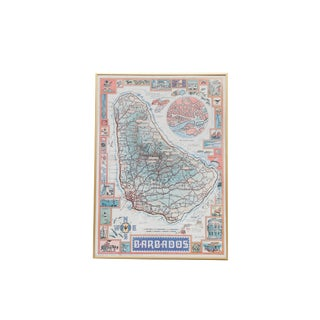Framed Map of Barbados For Sale