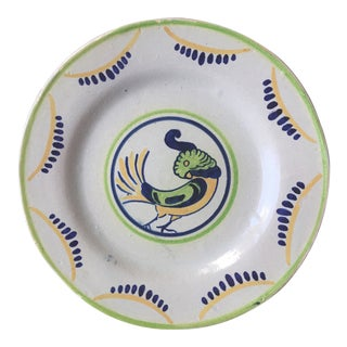 Vintage French Faience Cockatoo Plate For Sale