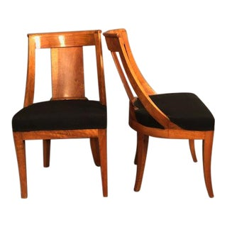 1960s French Art Deco Burlwood Dining Chairs - a Pair