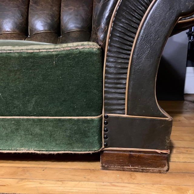 Danish 1930s Art Deco Green Leather Channeled Sofa For Sale - Image 4 of 11
