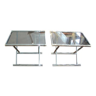 Mid-Century Modern Chrome & Smoke Glass End Tables - A Pair