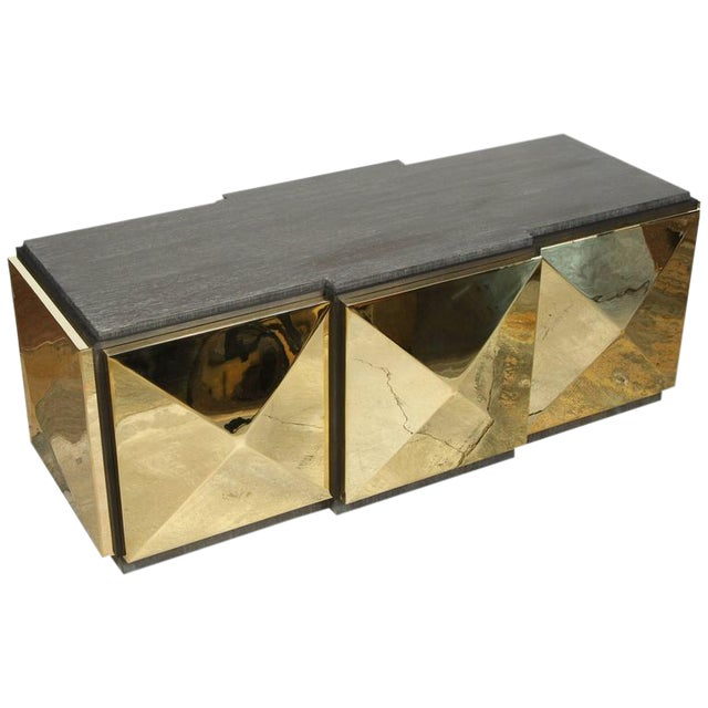 Paul Marra Brass Tile Cocktail Table/Bench For Sale