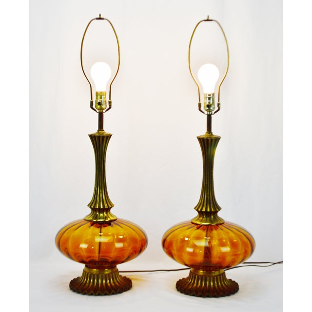 Mid Century Modern Amber Glass Table Lamps - a pair - Image 2 of 11