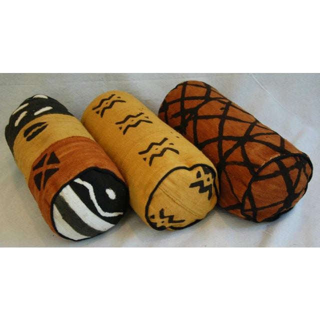 Tribal Mud-Cloth Bolster Accent Pillows - Set of 3 - Image 8 of 9