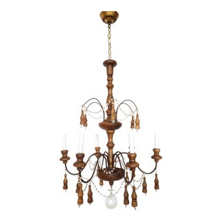 Antique French Wood & Crystal Chandelier For Sale
