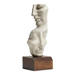 1960s Abstract Op Art Sculpture of Two Faces by Peter Fingesten For Sale