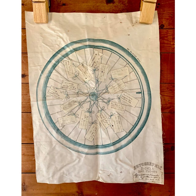 1800s Bicycle Hand Signed Pillow Print For Sale - Image 11 of 11