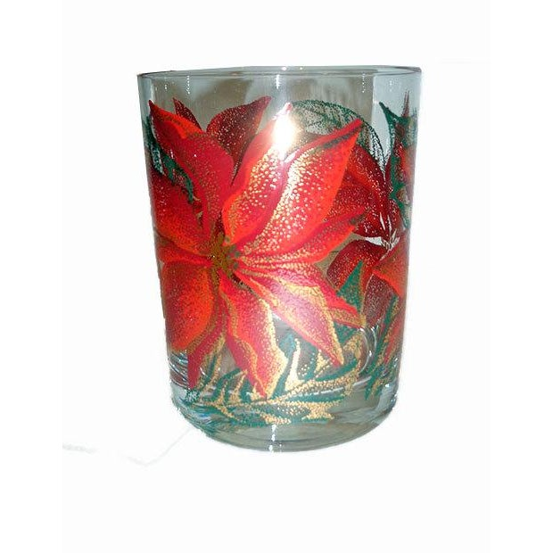 Culver Poinsettia Old Fashioned Glasses - Set of 8 - Image 3 of 4