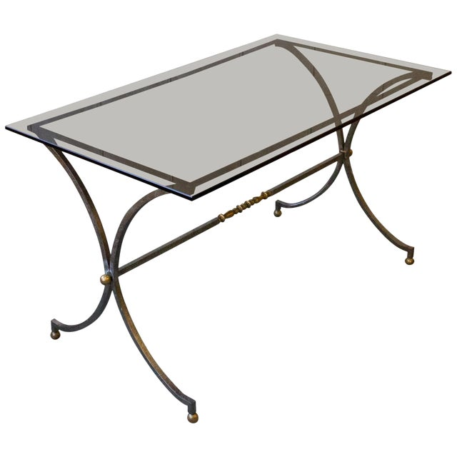 Brushed Steel and Brass End Table For Sale
