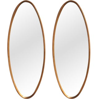 La Barge Oval Water-Gilt Frame Mirrors - a Pair For Sale