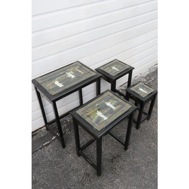 Wood Oriental Black Painted Nesting Tables Set of Four For Sale - Image 7 of 13